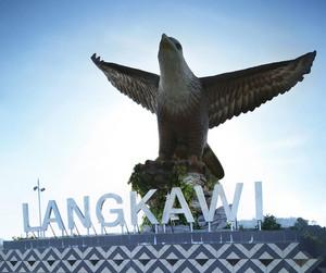 Big eagle statue, the symbol of Langkawi island, Malaysia