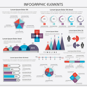 Big set of colorful stunning infographic elements including pie chart, statistical bar and graph for your print, presentation or business.