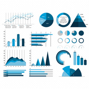 Big set of creative Business Infographic elements with statistical bar, graphs and chart for professional report and presentation.