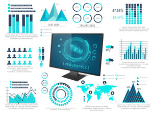 Big set of creative infographic elements including statistical graphs and charts with desktop presentation for business.