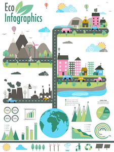 Big set of ecology infographic template layout with statistical graphs and charts.
