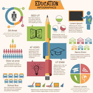 Big set of education infographic elements with creative statistical graphs, charts and illustration of various educational supplies.