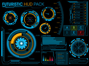 Big set of Futuristic HUD elements, UI HUD Infographic layout, Web UI elements collection, Blue virtual graphic touch user interface, Abstract background with statistical graphs for Business.