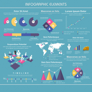 Big set of infographic elements with statistical graphs and charts for Business concept.