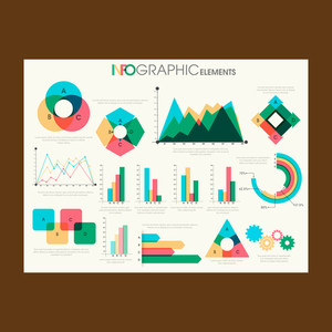 Big set of statistical infographic elements for Business concept.