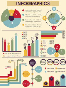 Big set of various colorful Infographics elements for your business reports presentation.