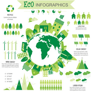 Big set of various ecological infographic elements with statistical graphs, charts, solar panel and view of a city on globe.