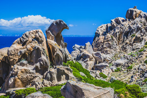 Bizarre granite rock formations in Capo Testa, Sardinia, Italy
