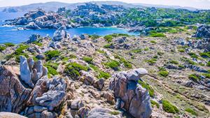 Bizarre granite rock formations in Capo Testa, Sardinia, Italy