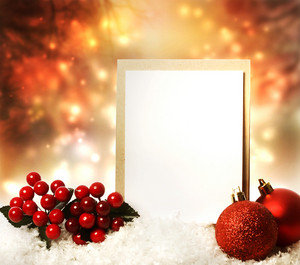 Blank Christmas card with red ornaments at night