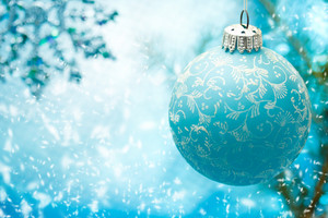 Blue Christmas ornament with snow flakes