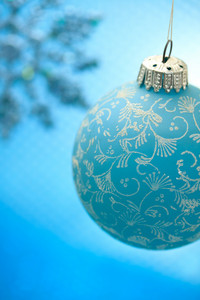 Blue Christmas ornament with snowflake