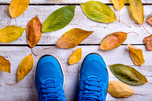 Blue sports shoes. Colorful autumn leaves. Studio shot on white wooden background.
