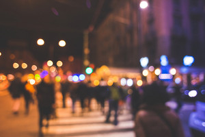 blurred bokeh city milan by night in christmas time