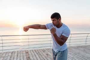 boxing outdoors on sunrise