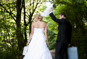Bride and groom outdoor wedding portraits