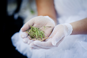 Bride and groom's hands holding flower in the field