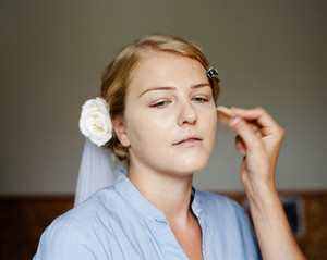 Bride is getting ready for the wedding