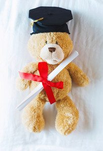 Brown teddy bear in graduation cap holding his diploma