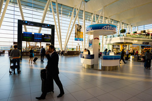 BUDAPEST, HUNGARY - SEPTEMBER 7, 2015: View of the Ferenc Liszt airport, the most important of Hungary.