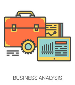 Business analysis infographic metaphor with line icons. Business project analysis concept for website and infographics. Vector line art icon isolated on white background.