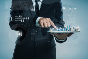 Business concept,  Global Strategy Virtual Icon.Innovation Graphs Interface. Worldwide connection technology interface.