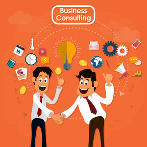 Business Consulting concept with illustration of Businessmen shaking hands and different flat icons on orange background.