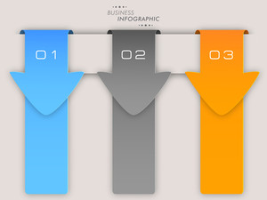 Business infographic layout with colorful arrows and number on grey background.