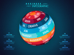Business Infographic layout with colorful creative globe for your professional presentations and report.