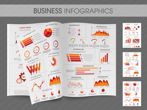 Business infographic magazine with creative elements for your presentation and report include pie chart, graph, statistical bar.