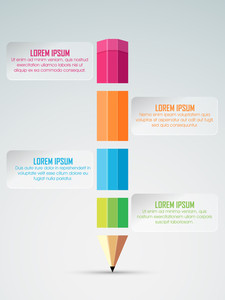 Business Infographic Template, Banner or Flyer with creative colorful pencil for your professional report presentation.