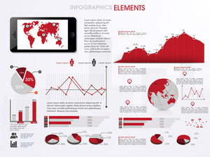 Business infographics set with information graphics and world map on smartphone screen.