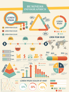 Business infographics template with different elements and graphs showing yearly growth.