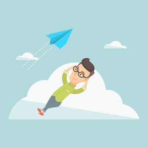 Business man lying on a cloud and looking at flying paper plane. Caucasian business man relaxing on a cloud. Business man resting on a cloud. Vector flat design illustration. Square layout.