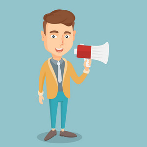 Business man promoter holding megaphone. Business man speaking into a megaphone. Businessman advertising using megaphone. Social media marketing concept. Vector flat design illustration. Square layout