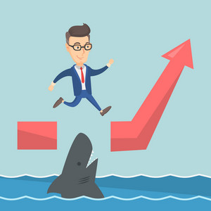 Business man running on ascending graph and jumping over gap. Business man jumping over ocean with shark. Business growth and business risks concept. Vector flat design illustration. Square layout.