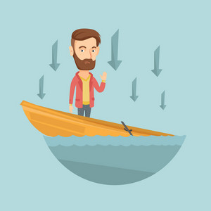 Business man standing in sinking boat and asking for help. Business man sinking and arrows behind his pointing down symbolizing business bankruptcy. Vector flat design illustration. Square layout.