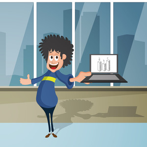 Business progress concept with illustration of young happy boy showing growth bar on his laptop.