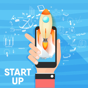 Business Start Up concept with illustration of human hand holding smartphone and flying Rocket.