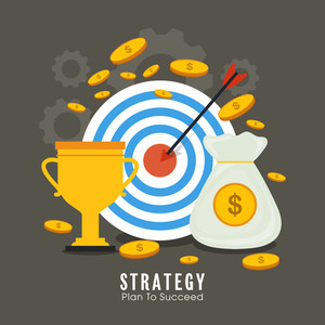 Business strategy and solution concept with creative success elements.