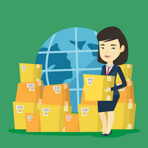 Business woman holding box on the background of world map and packages. Woman working in international delivery service. International delivery concept. Vector flat design illustration. Square layout.