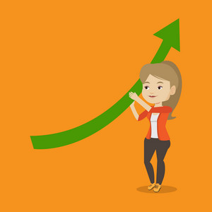 Business woman holding graph going up. Business woman with growth graph. Caucasian business woman changing the path of graph to a positive increase. Vector flat design illustration. Square layout