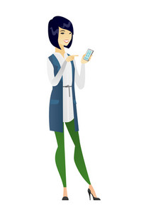 Business woman holding mobile phone and pointing at it. Full length of business woman with mobile phone. Business woman using mobile phone. Vector flat design illustration isolated on white background