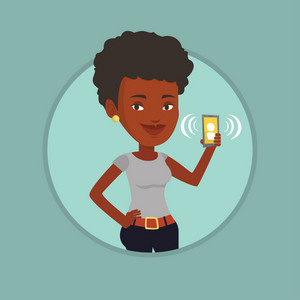 Business woman holding ringing mobile phone. Woman answering a phone call. Business woman standing with ringing phone in hand. Vector flat design illustration in the circle isolated on background.