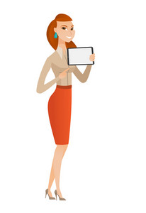 Business woman holding tablet computer. Full length of business woman pointing at tablet computer. Business woman with tablet computer. Vector flat design illustration isolated on white background.