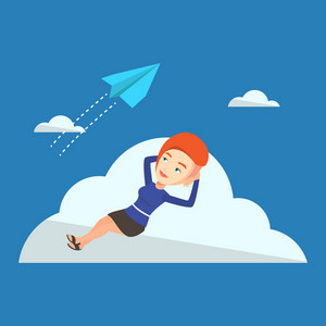 Business woman lying on a cloud and looking at flying paper plane. Caucasian business woman relaxing on a cloud. Business woman resting on a cloud. Vector flat design illustration. Square layout.
