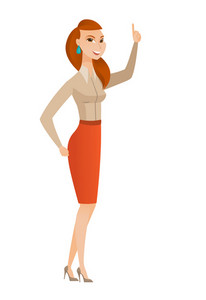Business woman pointing with her finger. Full length of business woman pointing her finger up. Business woman with finger pointing up. Vector flat design illustration isolated on white background.