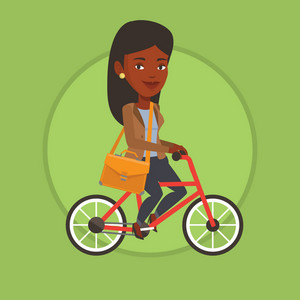 Business woman riding a bicycle. Cyclist riding a bicycle. Business woman with briefcase on a bicycle. Healthy lifestyle concept. Vector flat design illustration in the circle isolated on background.