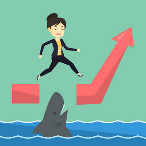 Business woman running on ascending graph and jumping over gap. Business woman jumping over ocean with shark. Business growth and business risks concept. Vector flat design illustration. Square layout