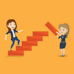 Business woman runs up the career ladder while another woman builds this ladder. Businesswoman climbing the career ladder. Concept of business career. Vector flat design illustration. Square layout.